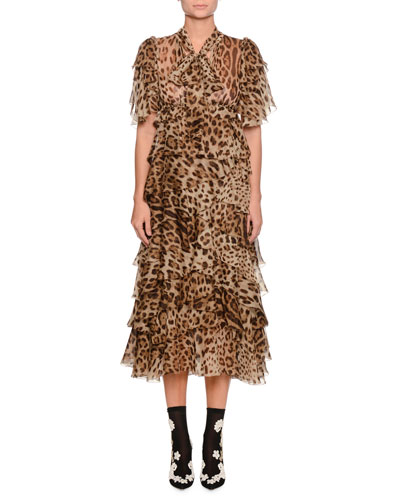 Short-Sleeve Tiered Leopard-Print Long Chiffon Dress
