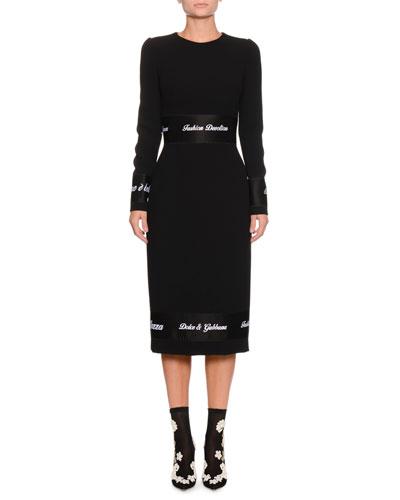 Jewel-Neck Long-Sleeve Wool Fitted Sheath Dress w/ Ribbon Trim