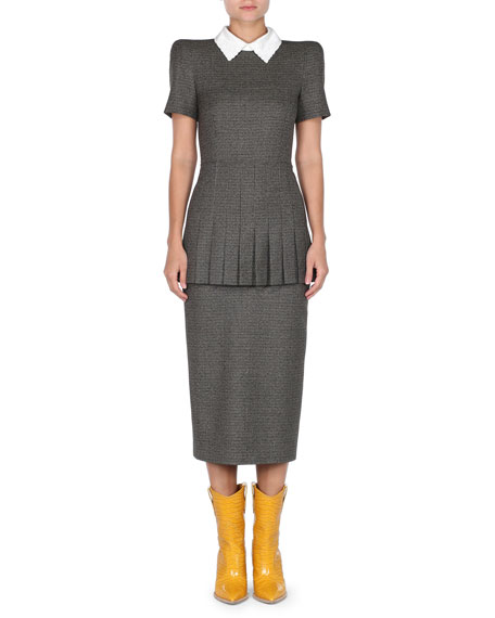 Fendi Short-Sleeve Check Pleated Peplum Midi Sheath Dress