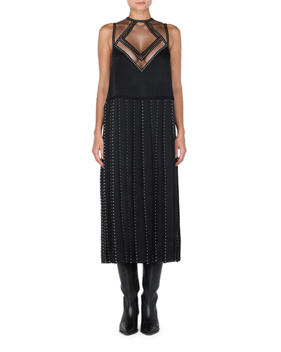 Sleeveless Studded Sheath Dress w/ Illusion Neck & Carwash Hem