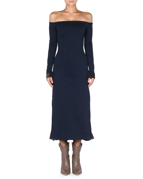 d04838d59bd8 Fendi Off-the-Shoulder Long-Sleeve Midi Jersey Dress w/ Pleated Side Detail