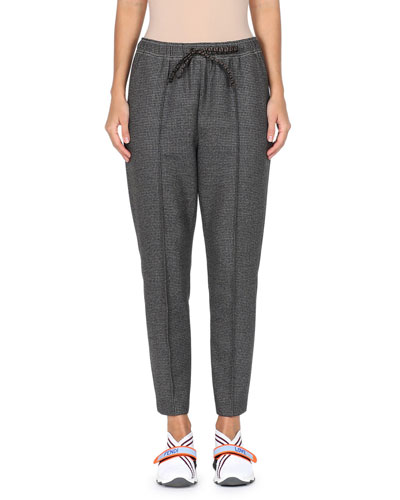 Drawstring-Waist Check Pleated Fleece-Wool Pull-On Pants