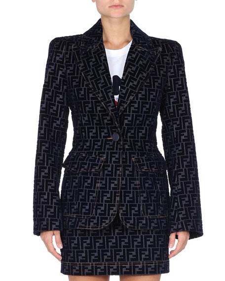 Fendi One-Button Flocked Velvet FF Denim Jacket