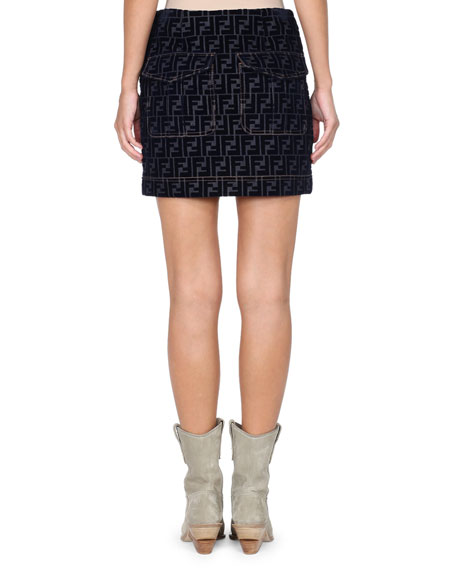 Flocked Velvet FF Logo Denim Mini Skirt