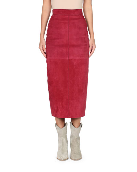 High-Waist Suede Pencil Skirt