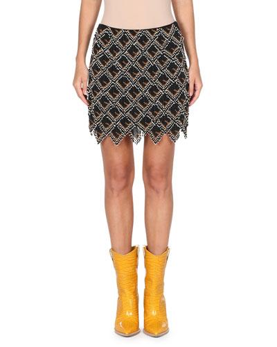Beaded Mini Skirt w/ Leather Logo Back