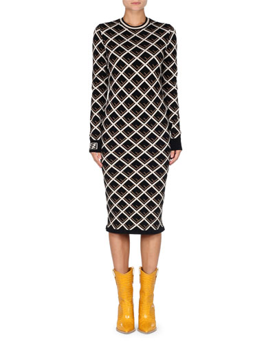 Long-Sleeve Logo-Knit Midi Dress
