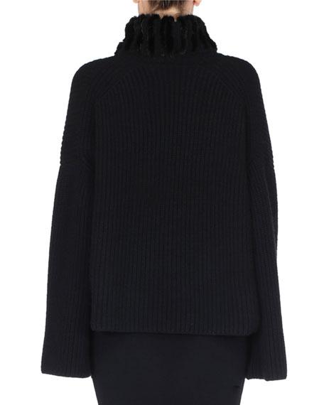 Chunky Knit Cashmere Sweater w/ Mink Fur Turtleneck