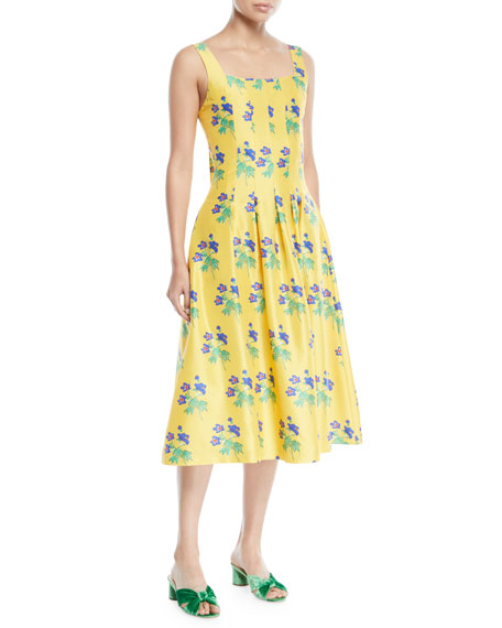 NOVIS MUMFORD SQUARE-NECK SLEEVELESS FIT-AND-FLARE FLORAL JACQUARD DRESS