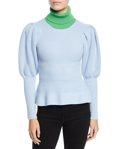 Abbott Colorblocked Puff-Sleeve Sweater