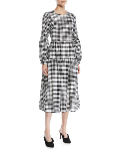 The Darlington Crewneck Puff-Sleeve Plaid Wool Midi Dress