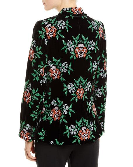 Bronson One-Button Floral-Embroidered Velvet Structured Blazer