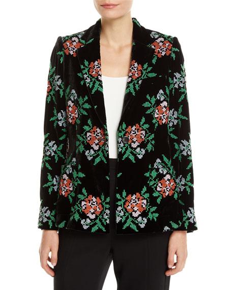 Bronson One-Button Floral-Print Velvet Structured Blazer