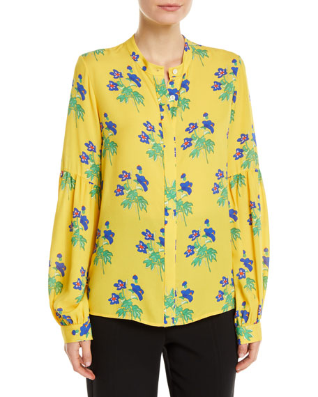 NOVIS HARLOW BUTTON-FRONT LONG-SLEEVE FLORAL-PRINT SILK BLOUSE