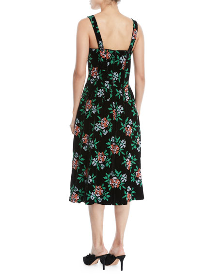 Mumford Square-Neck Sleeveless Fit-and-Flare Floral-Embroidered Velvet Midi Dress