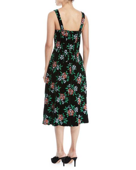 Mumford Square-Neck Sleeveless Fit-and-Flare Floral-Print Velvet Midi Dress