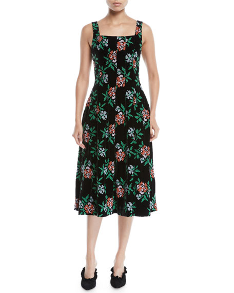 Novis Mumford Square Neck Sleeveless Fit And Flare Floral
