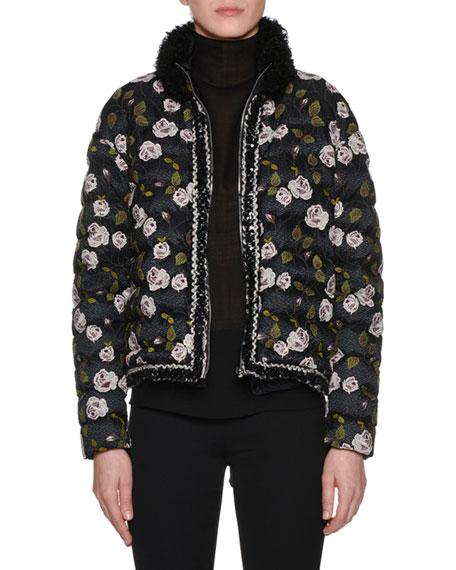 GIAMBATTISTA VALLI Fur-Collar Multi-Floral Lace-Embroidered Short Puffer Coat in Black
