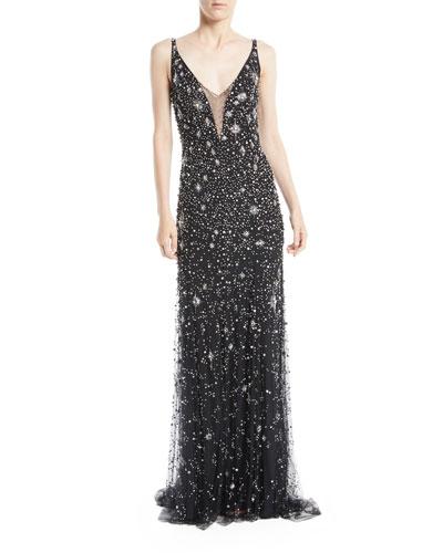 Celeste V-Neck Sleeveless Beaded Tulle Column Evening Gown