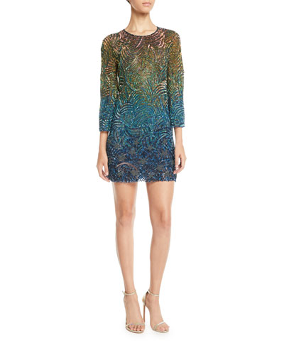 Rigel Jewel-Neck Bell-Sleeve Beaded Patterned Shift Cocktail Dress
