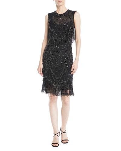Jewel-Neck Sleeveless Body-Con Beaded Cocktail Dress