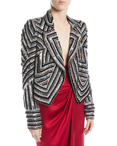 Notched-Lapel Open-Front Sequin-Embroidered Jacket