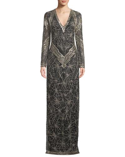 Long-Sleeve Shimmer-Embroidered V-Neck Gown