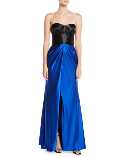 Colorblocked Taffeta-Skirt Slit-Leg Gown