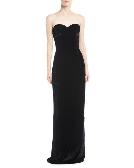 71827a61 Naeem Khan Sweetheart-Neck Velvet Column Evening Gown