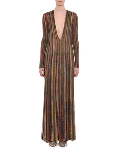 Plunging Long-Sleeve Metallic Striped Long Dress