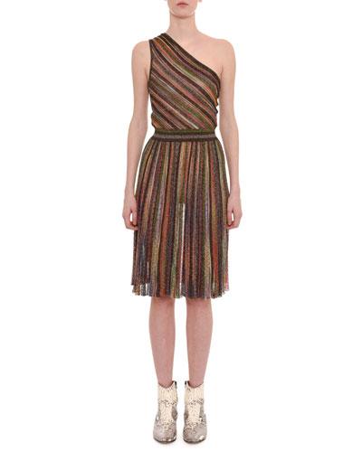 One-Shoulder 3-D Metallic Striped Short Dress