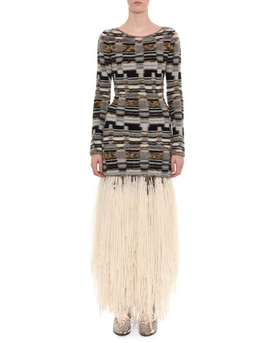 Long-Sleeve Multi-Knit Short Dress w/ Knit Fringe