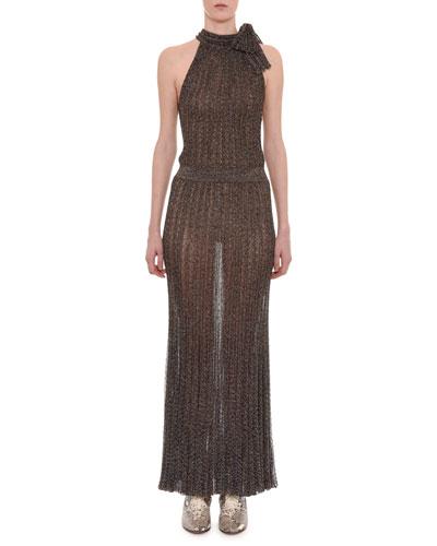 Sleeveless Tie-Neck Keyhole Metallic-Knit Long Dress