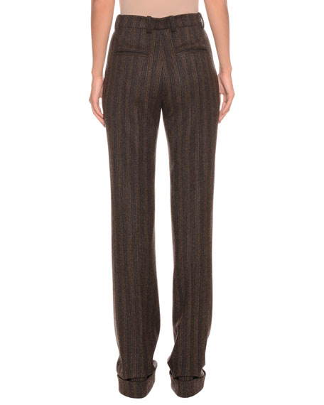 High-Rise Straight-Leg Striped Wool-Blend Pants