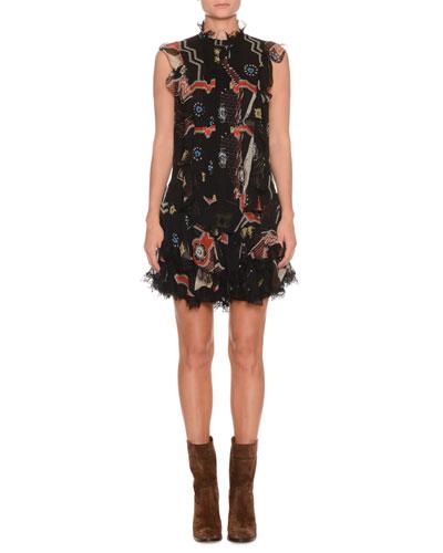 Sleeveless Mixed-Print Silk Mini Dress