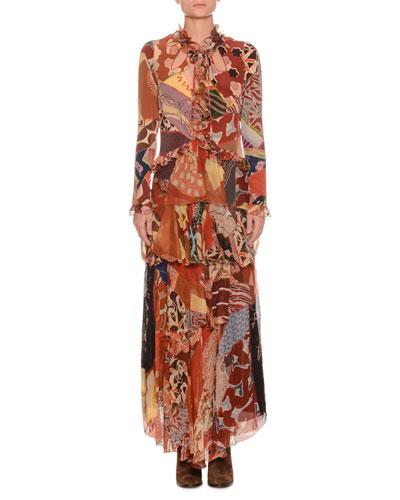 Mixed-Print Long-Sleeve Long Silk Gown
