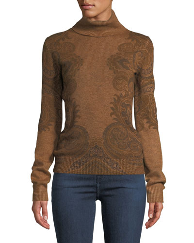 Turtleneck Paisley-Intarsia Cashmere Pullover Sweater