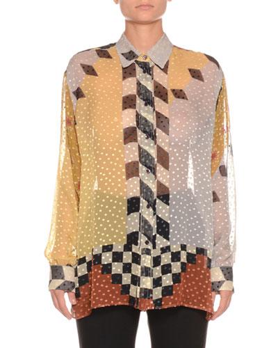 Sheer Checkerboard Dot Shirt