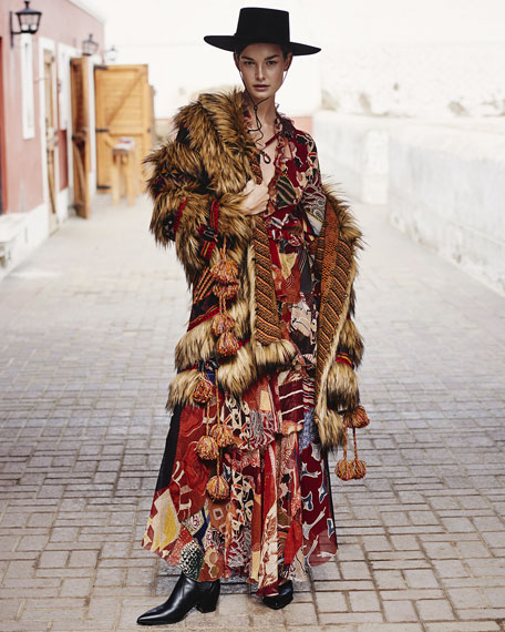 Faux-Fur Coat w/ Intarsia Knit Combo