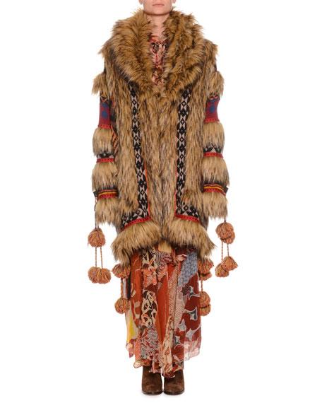 Wool-Blend Jacquard And Faux Fur Coat, Brown