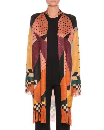 Checker Fringe Cardigan Sweater