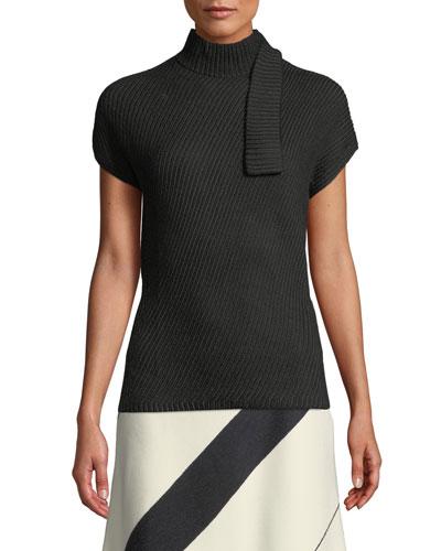 Short-Sleeve Chunky Rib-Knit Wool Top