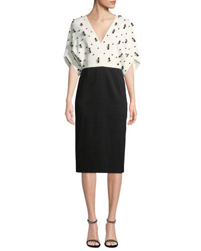 V-Neck Short-Sleeve Beaded Bicolor Sheath Dress
