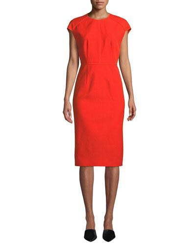Jewel-Neck Cap-Sleeve Wool Twill Midi Dress