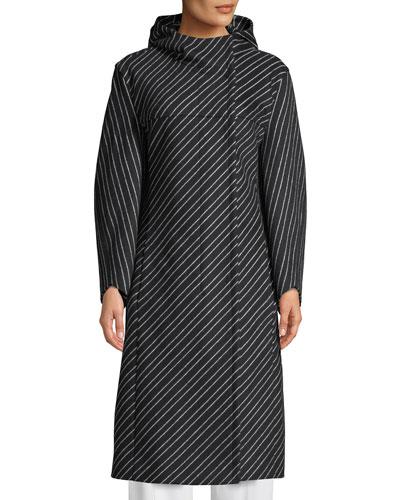 Hooded Striped Wool-Alpaca Coat