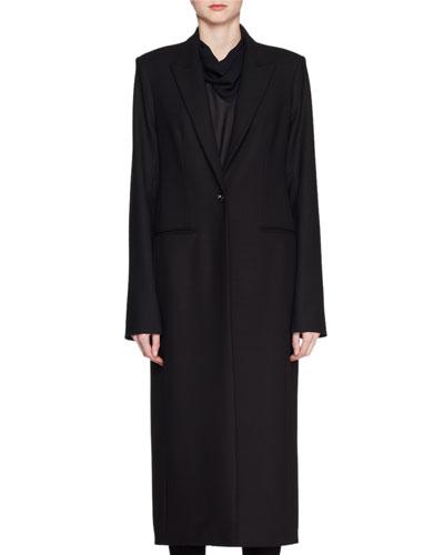 Encer One-Button Wool-Blend Calf-Length Coat