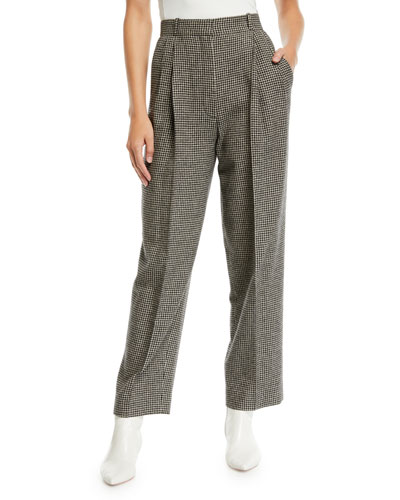 Nica High-Waist Straight-Leg Camel-Hair Pants
