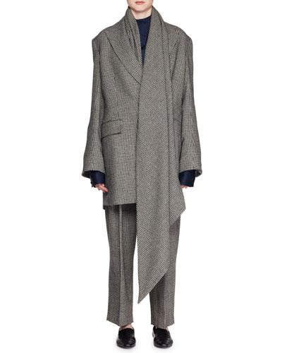 Mewey Mini-Houndstooth Superfine Camel Hair Coat w/ Scarf