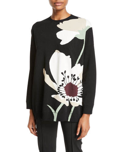 Crewneck Floral-Intarsia Knit Pullover Sweater
