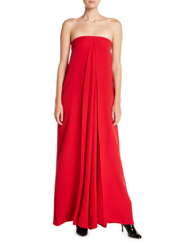 Strapless Wide-Leg Jumpsuit w/ Pleats